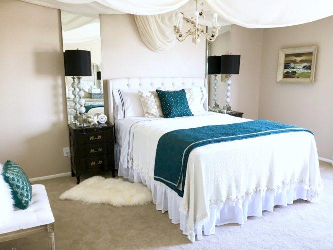 HGTV Beach Chic Condo, Marilynn Taylor, Teal, Black, Bedroom,