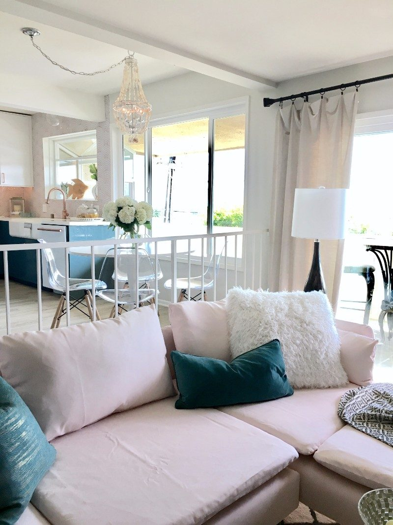 HGTV, pink sofa, Ikea, open concept, lighting, black, bar, wet bar, brass, ocean, kitchen, dining room, gold, brass, Homegoods, Marilyn Taylor, copper, teal, turquoise