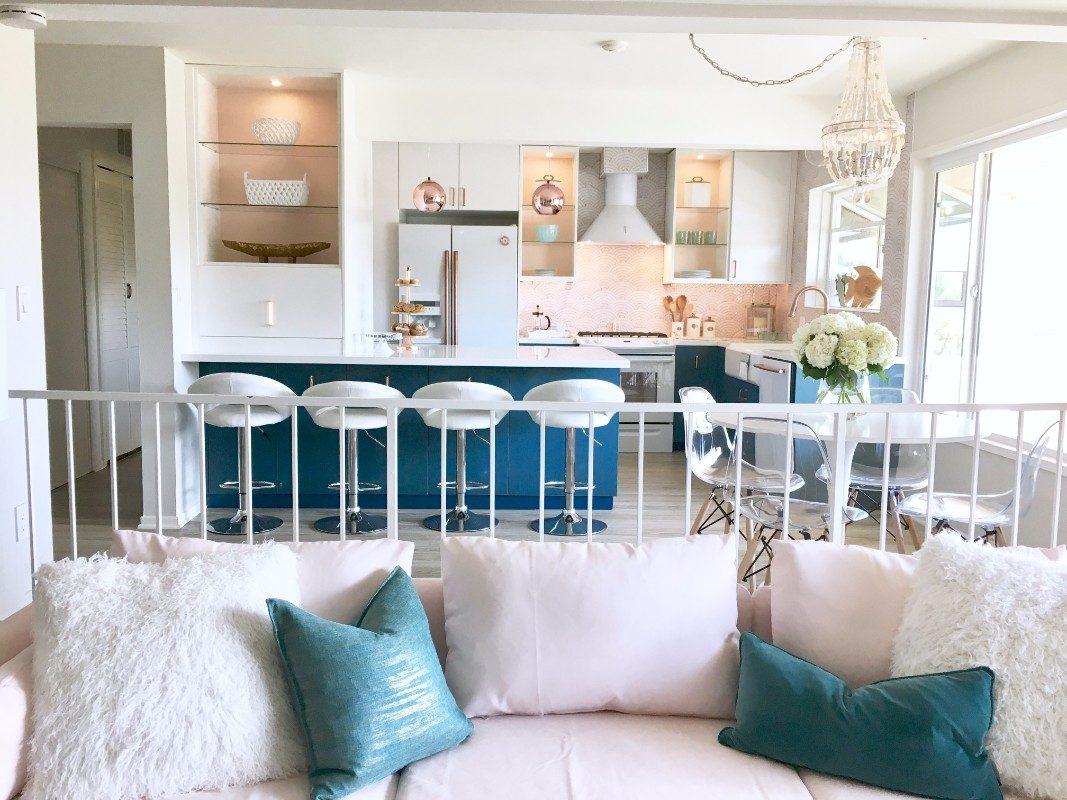 HGTV, open concept, Ikea cabinets, kitchen, rattan, pineapple, gold, brass, Homegoods, Marilyn Taylor, pink, blush, teal, turquoise