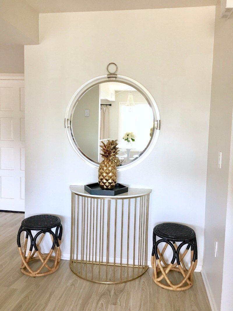 Nate Berkus, entry way, black, rattan, pineapple, gold, brass, Homegoods, Marilyn Taylor, Target