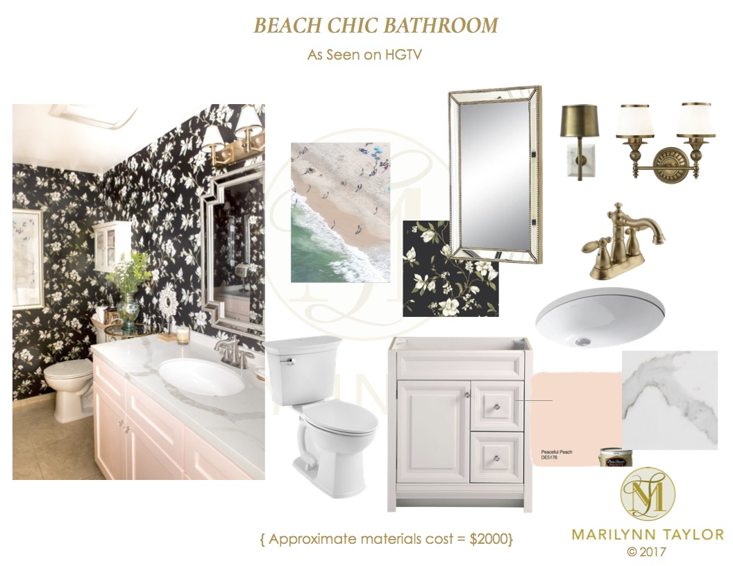 HGTV Beach Chic Instant Bathroom Design Plan - Marilynn Taylor DIY ...