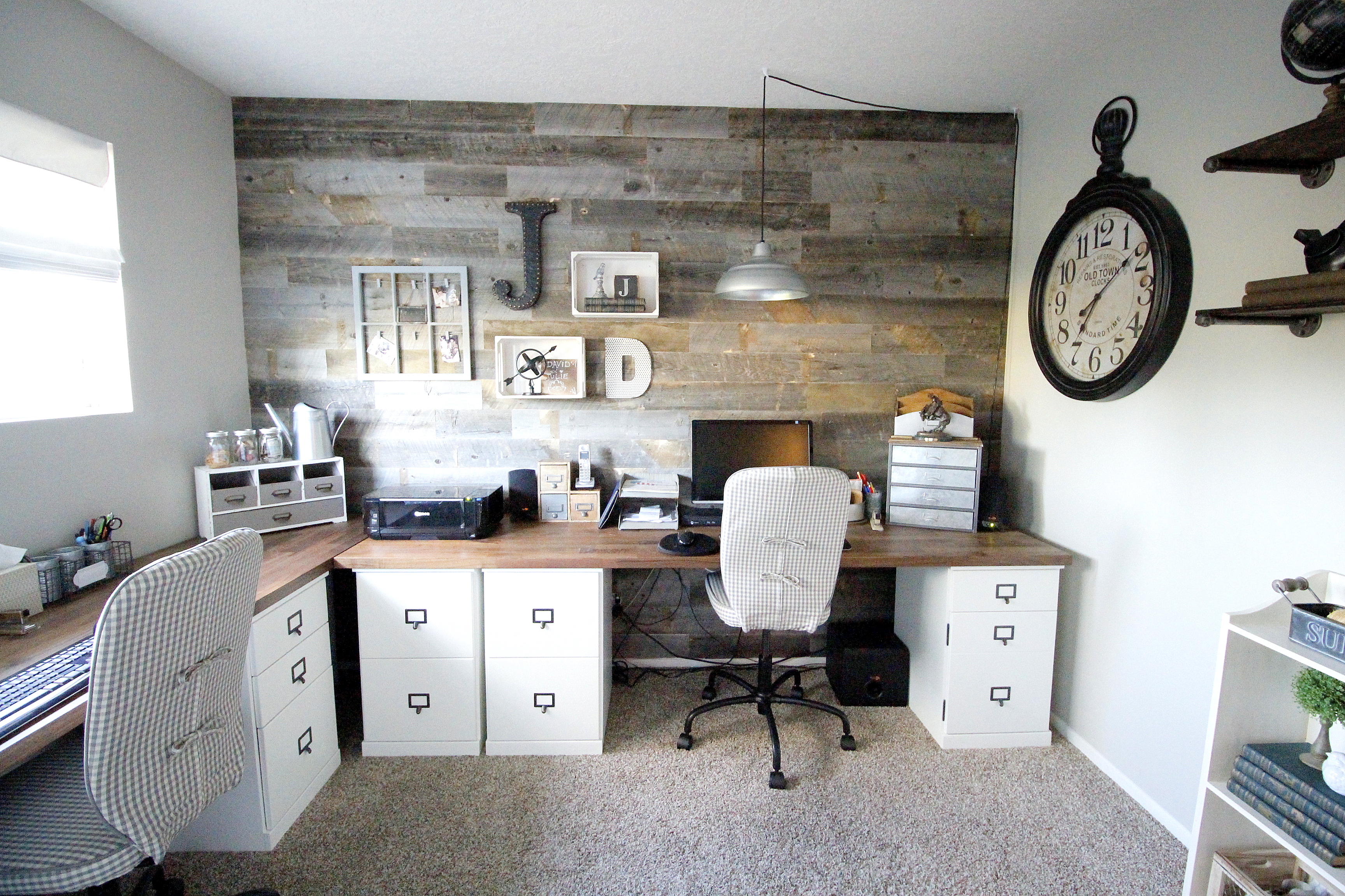 A farmhouse inspired office for two Marilynn Taylor Design Consultant