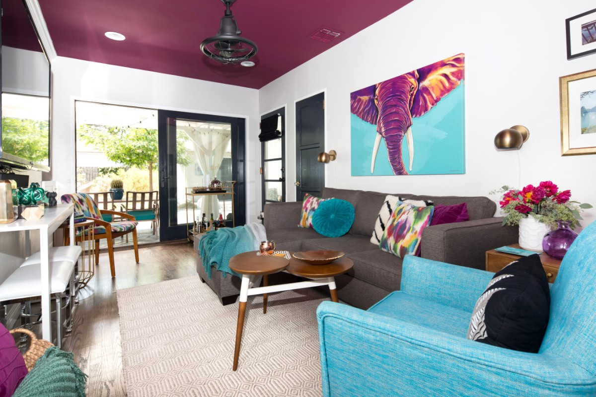 magenta ceiling, purple, elephant, colorful, mid century modern, den, vintage furniture, Apt2B sofa.
