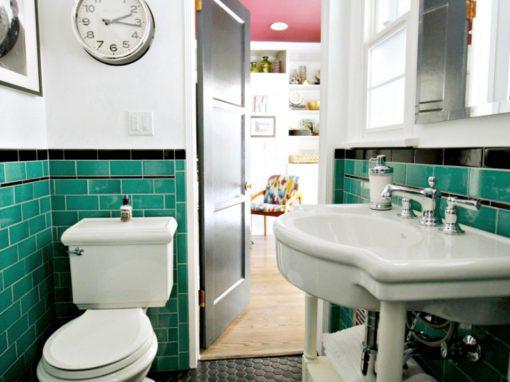 green bathroom, tile, vintage, 1920