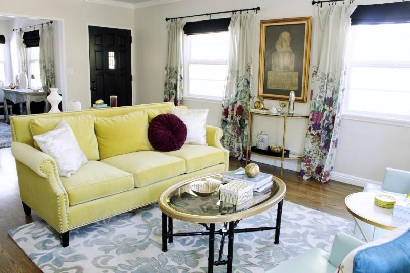 Green Velvet Sofa, Colorful Living Room, Marilynn Taylor, Los Angeles,  Pasadena,