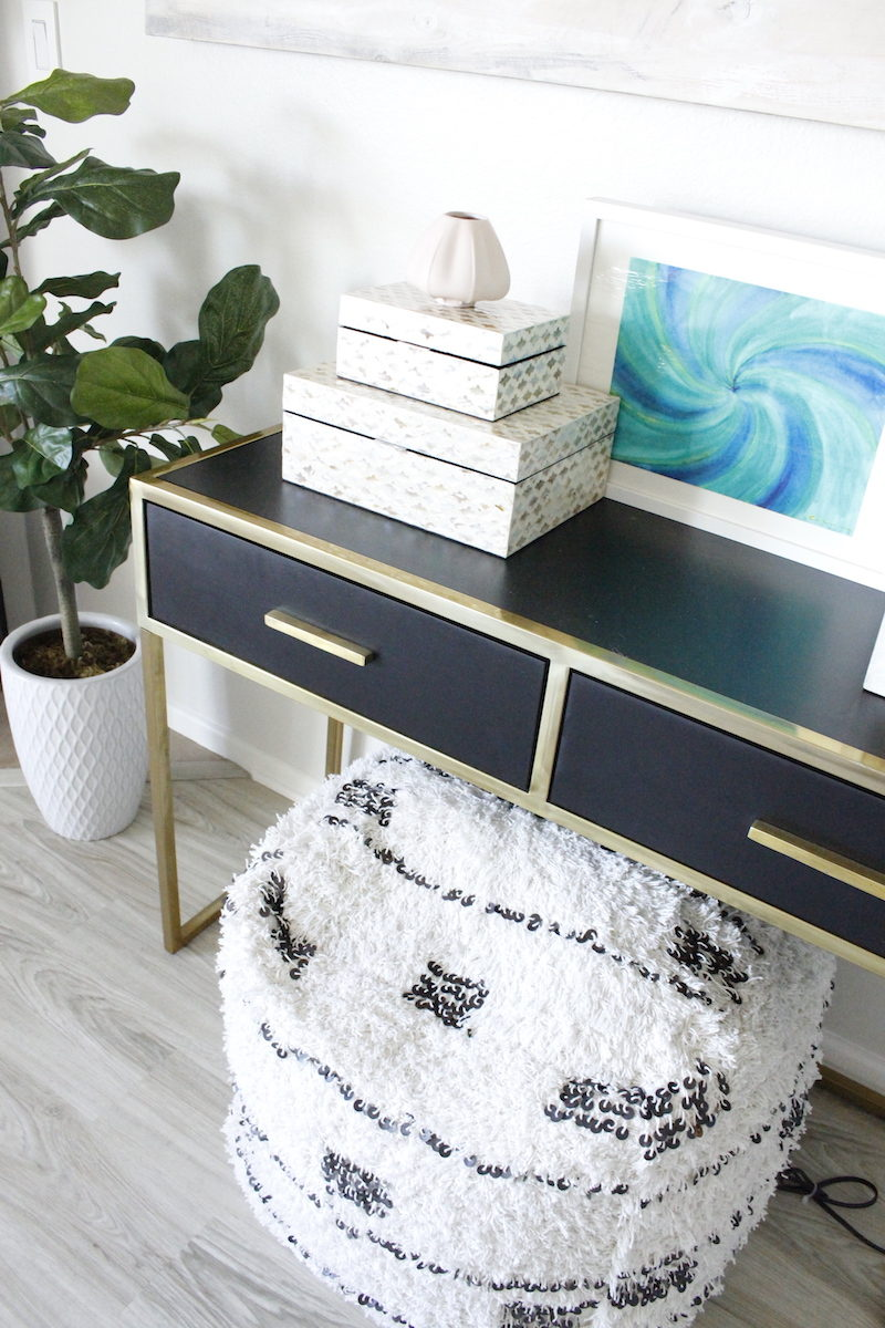 HGTV BEACH CONDO, living room, target, nate burkes, black and gold, pouf, fiddle leaf fig, beach, ocean, console table