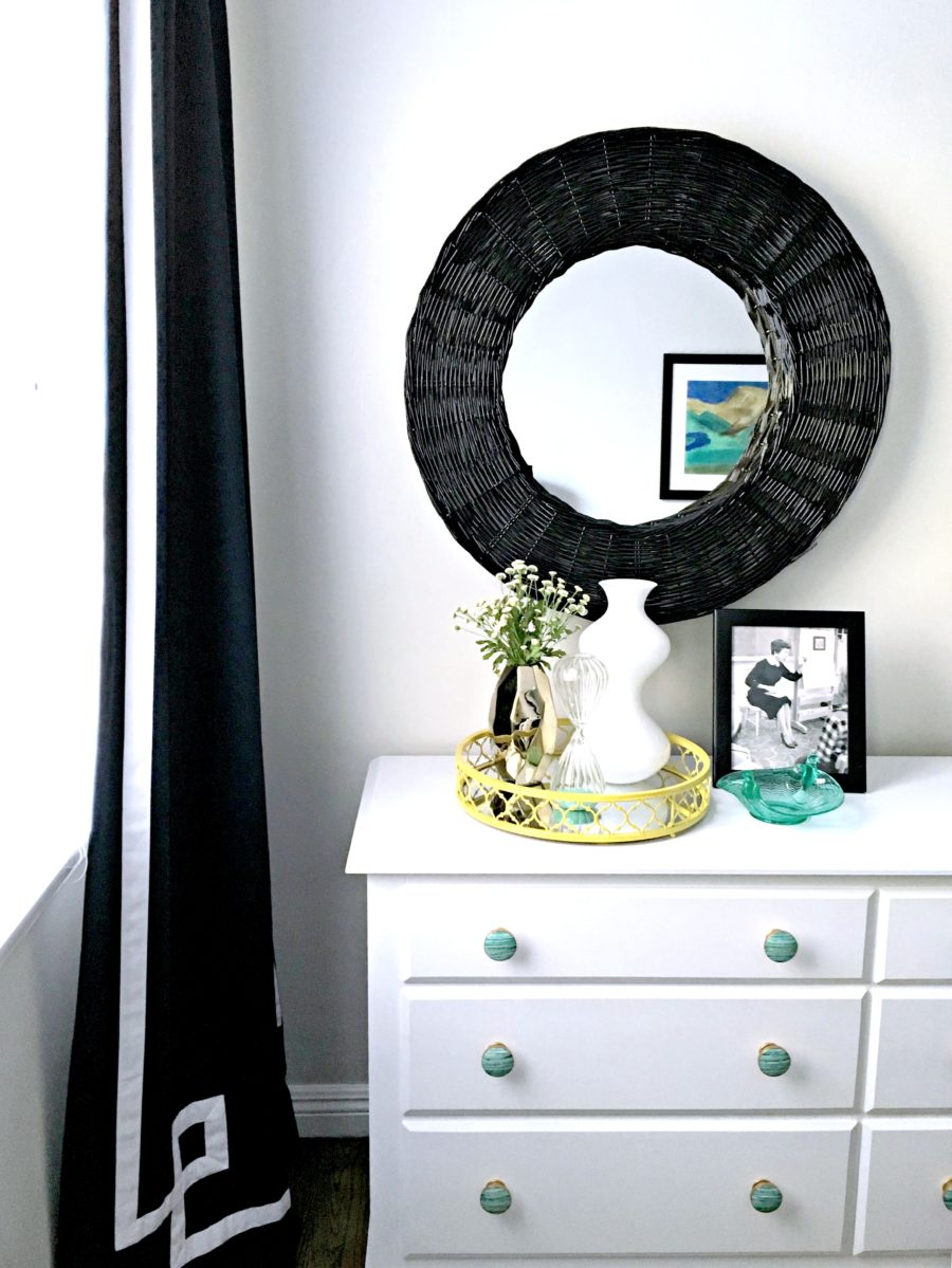 white, black, green, painted furniture, turquoise knobs, green, black mirror, navy curtains, yellow, bedroom