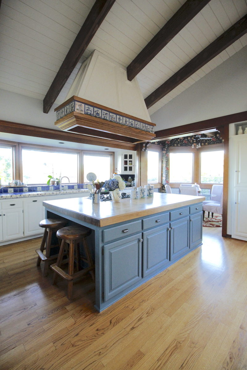 Palos Verdes, Southbay, Kitchen, painted cabinets, gray, blue cabinets, island, pottery, budget makeover