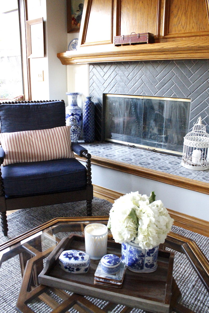 Palos Verdes, Southbay, Southern California, French country, traditional, navy, red, floral, black, fruit, wallpaper, Pottery Barn, French, France, Vintage coffee table, tile, herringbone