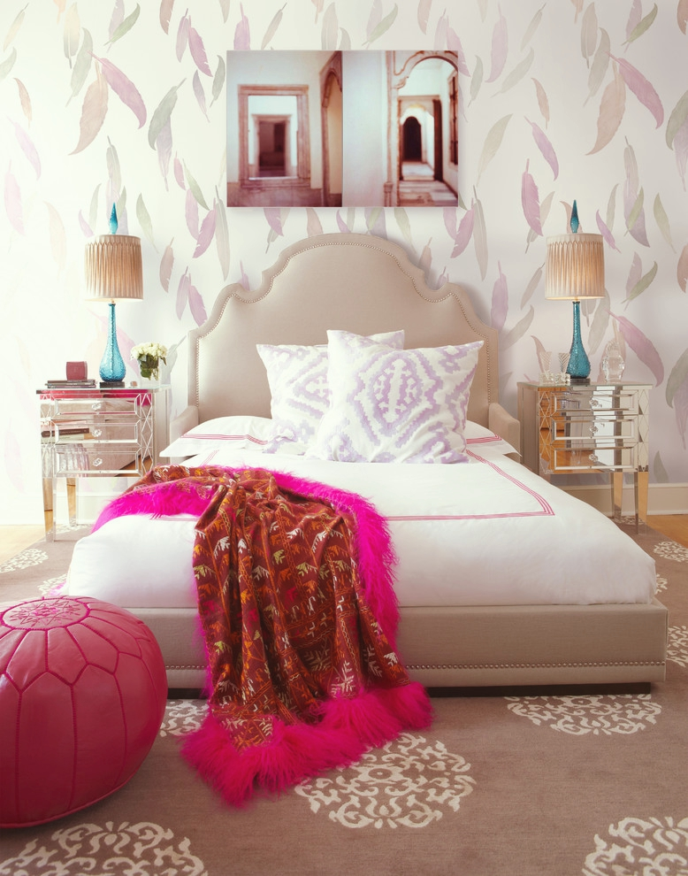 Damask Print Carpet Pastel Bedroom Mocha Light Brown Feather Wallpaper Baby Pink Bed Headboard Hot Gl Mirror Night Stands Feminine Room