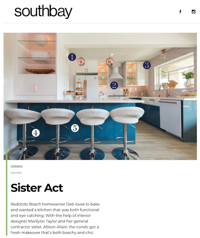 Featured In Southbay Magazine | Turquoise Cabinets | Teal | Copper | Modern  | Feminine |