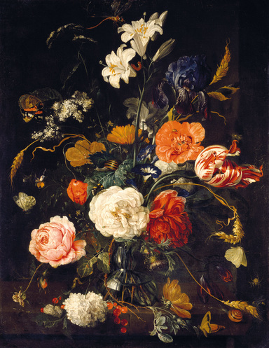 De Heem, flowers, dark & moody, one room challenge, floral, mural, wallpaper, saturated, black walls, office, floral, sophisticated, Marilynn Taylor, Orange county, interior designer, consultant