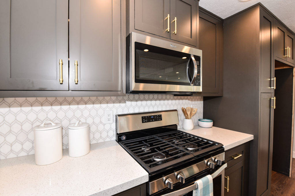 kitchen, dark gray cabinets, moroccan tile, retro, backsplash, House flip, orange county, los angeles, nationwide, e-design, real estate services, design consultant, Crum, nitro circus, flippers, chip and joanna gaines