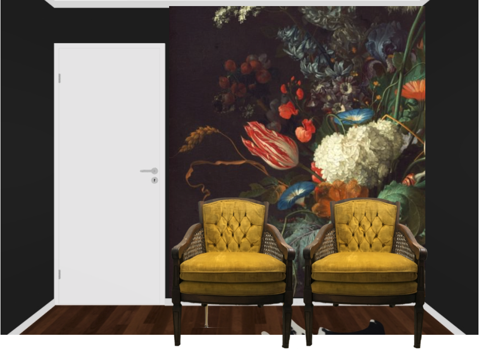 dark & moody, office makeover, one room challenge, floral, mural, wallpaper, saturated, black walls, office, floral, sophisticated, Marilynn Taylor, Orange county, interior designer, consultant