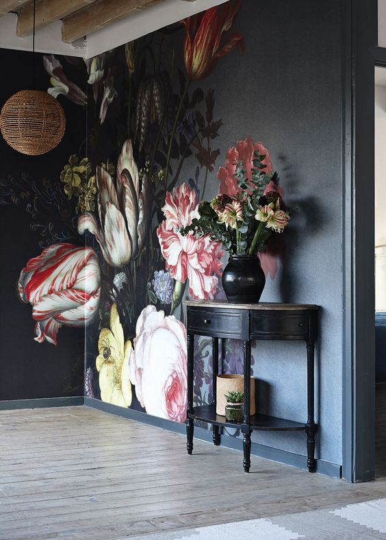 dark & moody, one room challenge, floral, mural, wallpaper, saturated, black walls, office, floral, sophisticated, Marilynn Taylor, Orange county, interior designer, consultant