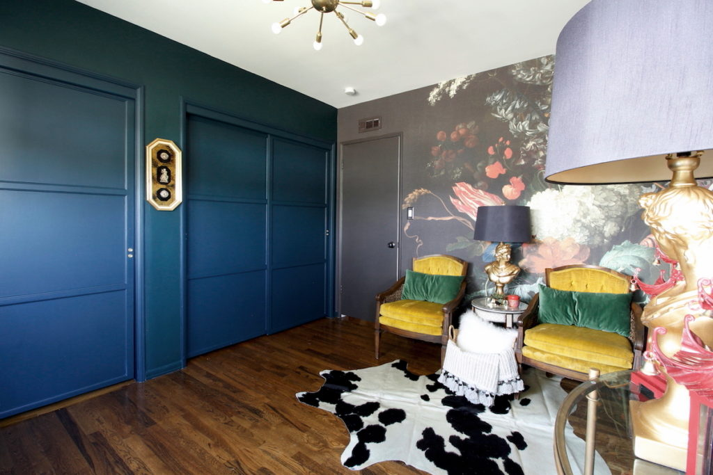 dark & moody, office makeover, one room challenge, floral, mural, wallpaper, saturated, black walls, office, floral, sophisticated, Marilynn Taylor, Orange county, interior designer, consultant, Sherwin Williams, paint, House Beautiful