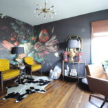 dark & moody office, office makeover, one room challenge, floral, mural, wallpaper, saturated, black walls, office, floral, sophisticated, Marilynn Taylor, Orange county, interior designer, consultant, Sherwin Williams, paint, House Beautiful