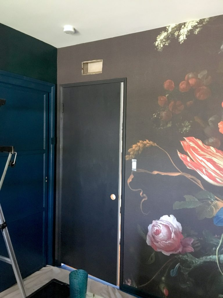 dark & moody, office makeover, one room challenge, floral, mural, wallpaper, saturated, black walls, office, floral, sophisticated, Marilynn Taylor, Orange county, interior designer, consultant, Sherwin Williams, wall mural, murals wallpaper, De Heem, Florals