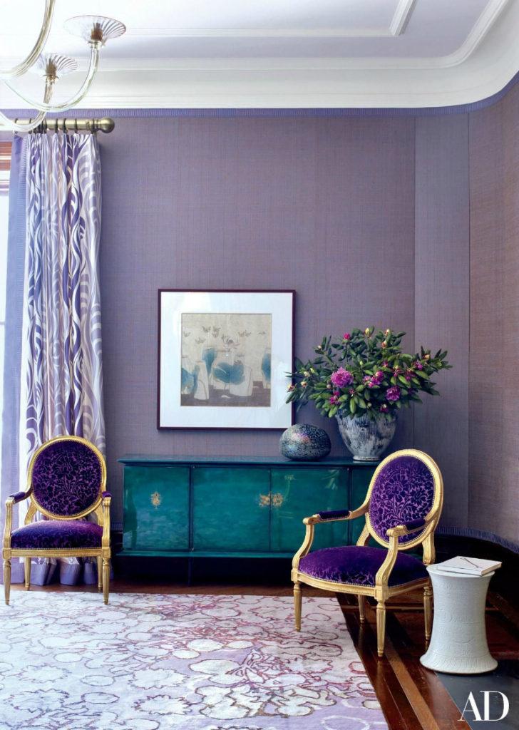 purple and green, emerald green, jewel tones, Marilyn Taylor, Marilynn Taylor, Mercedes, purple, art wall, Pantone, 2018, color of the year, purple, violet, interior design, interiors