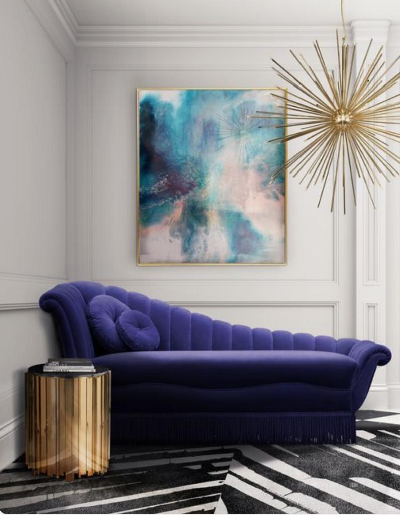 purple velvet, sofa, jewel tones, chaise, Marilyn Taylor, Marilynn Taylor, Mercedes, purple, art wall, Pantone, 2018, color of the year, purple, violet, interior design, interiors