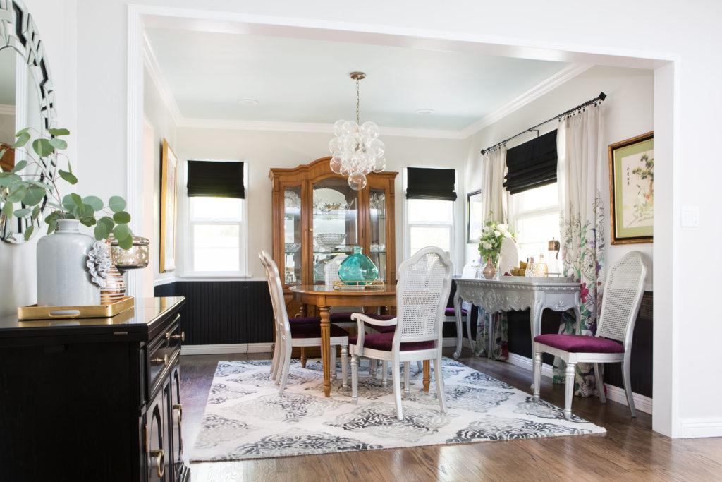 dining room, vintage, black, baby blue, ceiling, Marilyn Taylor, Marilynn Taylor, Mercedes, purple, art wall, Pantone, 2018, color of the year, purple, violet, interior design, interiors