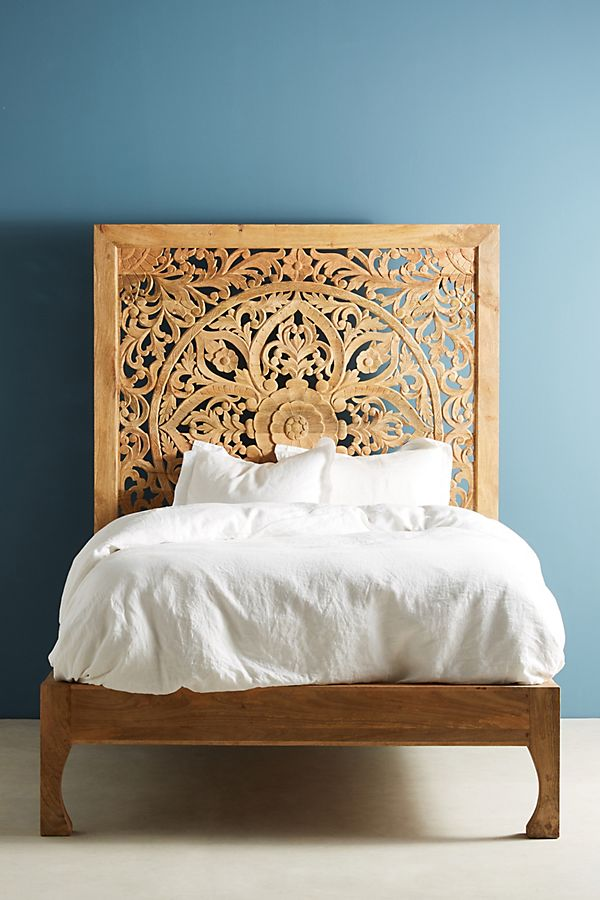 bohemian, anthropologie, lombok bed, carved wood, moroccan, indian